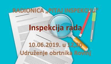 """Radionica za obrtnike """"PITAJ INSPEKCIJU – Inspekcija rada"""""""